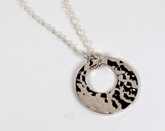 Open Circle Hammered Disc Necklace, Sterling Silver, Made to Order