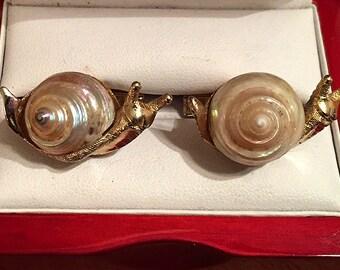 RARE Stunning Original Vintage SWANK Arts of the World Snail Cufflinks