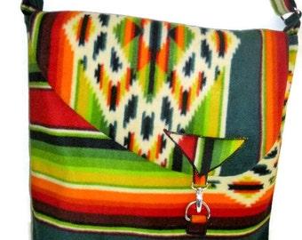 Messenger Bag Native American Design Anti Pill Fleece Southwest Style