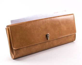 Vintage Clutch Tan Vinyl Rare Double Sided