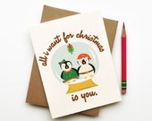 All I want for Christmas is You penguins in love snow under mistletoe globe illustration eco friendly holiday card stationery