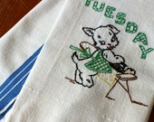 Vintage Linen Towel Hand Embroidered Day of the Week Tuesday Dog Puppy Ironing Blue Dish Kitchen Anthropomorphic