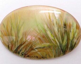 Mother of Pearl Brooch, Abalone Brooch, Hand Painted Brooch, Brooch, Stromboni Brooch (013)