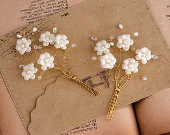 62_Boutineers for wedding, Gold groom accessories, White flower boutineers, Man wedding  boutineers, White boutineers for wedding, Groomsmen