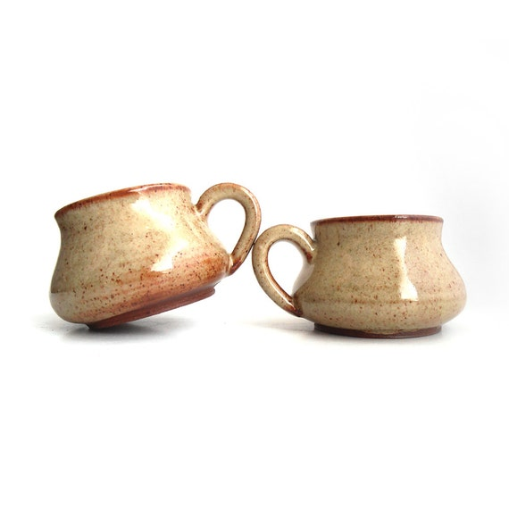 Two brown espresso cups 60ml serving size for Kashering dishwasher