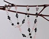 Beaded Silver Necklace with Rose Quartz, Snowflake Obsidian, Sardonyx
