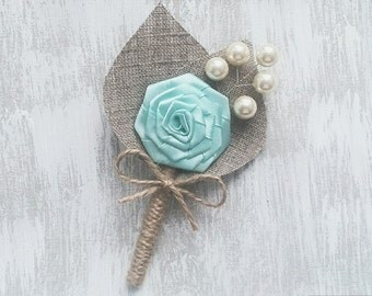 Mint Flower burlap Boutonniere with pearls Size - Small or Large