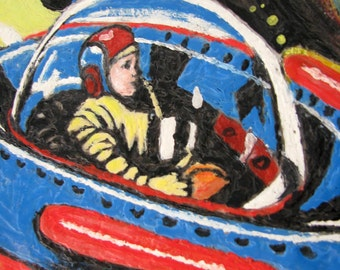 "Original Encaustic Painting of Vintage Wind Up Metal Toy - Spaceship ""Actually Floats in Space"" - 8'x 8"""