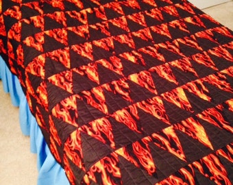 Sale Twin size Quilt, Flames and Black Triagnle Isosceles with Black Jean material