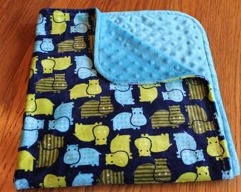 Baby Blanket Minky Boy Green Navy Blue  Turquoise Hippos Handmade