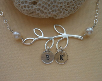Personalized Necklace,Mothers Necklace, Family Tree, Mothers Day Gift, Grandmother Gift, Sterling Silver, Hand Stamped Initials,Gift for Mom