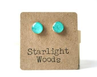Aqua Blue Stud Earrings summer outdoors wood turquoise post earrings.  girlfriend Gift Turquoise studs.  Blue Studs Starlight woods