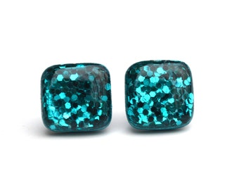 Blue Topaz Earrings • Sparkle Stud Earrings • Turquoise Glitter Earrings • Blue Glitter Earrings • Gift For Her • Sparkle Earrings