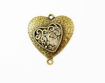Bronze Heart Earring Bracelet or Pendant Connectors STR938