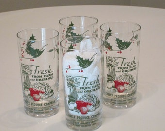 Set of 4 Glasses. Like New Condition Vintage Advertising Produce Company.  Holly Decor.