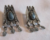 Vintage Earrings 1990s Silver Color with Beads Enamel Trapezoid Shape
