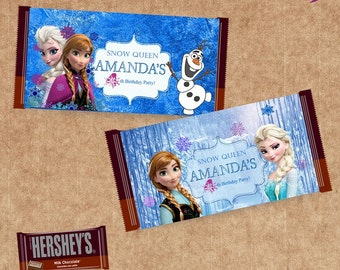 Disney Frozen Candy Bar Wrappers  -2 DISIGN'S -  Frozen Candy Wrapper - Personalized  - Birthday Party Printable