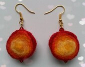 Earrings - felt jewelry - red, yellow - felted wool - red crystal beads - 3 circles - handmade felt - merino wool - hand dyed - felt balls