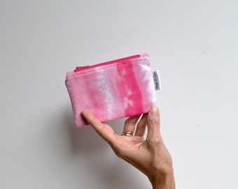 Pink Coin Purse, Pink Zipper Pouch, Ombre Change Purse, Gifts For her, Hand Dyed Wallet, Pink