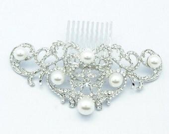 Bridal Hair Comb Silver Pearl Wedding Hair Accessories Bridal Hair Jewelry 2937