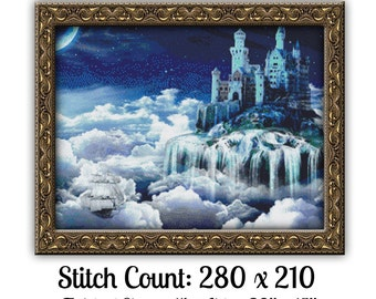 Fantasy Castle Cross Stitch Pattern Instant Download PdF Stunning Medieval Castle