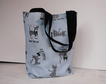 Cats and Dogs Oilcloth Tote Bag in Duck Egg Blue