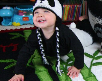 Panda Hats (for whole family) and pants / diaper covers (newborn to 12 mos) - CROCHET PATTERN