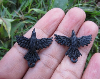 Single Piece Option: 25 mm x 27 mm Carved Little Raven , Buffalo horn carving, Earrings  Jewelry making supplies S4389