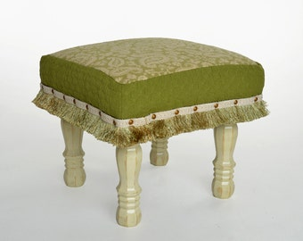 Cottage Chic Upholstered Footstool, ottoman, Handcrafted, Foot Rest, Seating, Paisley, Green, Shabby Chic, wood bench, bedroom decor