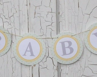 VINTAGE BICYCLE Themed Baby Shower or Bridal Shower Banner Green Yellow - Party Packs Available