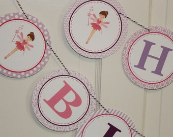 LITTLE  FAIRY Baby Shower or Happy Birthday Party Banner Pink Purple Lavender
