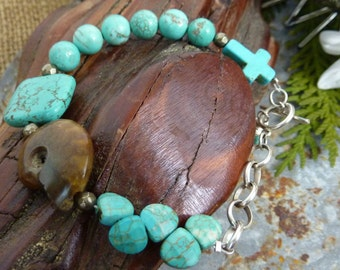 HOWLITE TURQUOISE and Fossil Sundance style sterling Bracelet