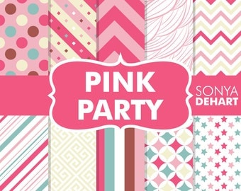 70% OFF SALE Pink Party Birthday Digital Paper Pack Girl Patterns Clipart SALE