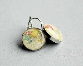 World map earrings, Surgical steel earring, Vintage map earrings, French clip, Leverback, Dangle