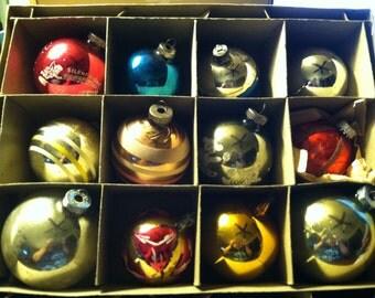 Vintage  Christmas Ornaments Shiny Bright (Box of 12)