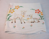 Vintage Embroidered Child's Pillowcase - Baby Deer in the Garden - Standard Size