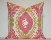 IKAT Decorative Pillow Cover - Accent Pillow - Pink - Orange - Olive Green - Sofa Pillow - Chair Pillow