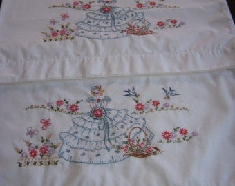 Crinoline Ladies hand embroidered pillow cases set of 2