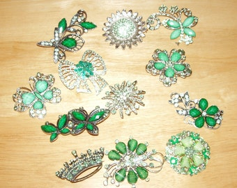 BROOCH BOUQUET , 12 Rhinestone Green Brooches, Upscale, Quality Brooches for Bouquet