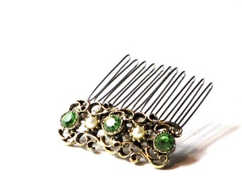 Sparkling Green Rhinestone and Pearl Hair Comb Gold Filigree Holiday Hair Jewelry Upcycled One of A Kind