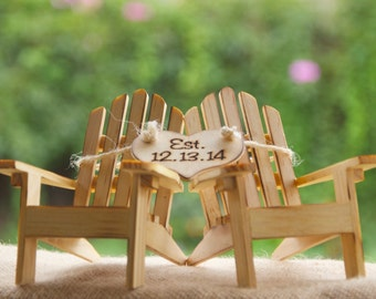 Personalized Cake Topper Adirondack Chairs-Beach Wedding-Cottage Wedding-Shabby Chic- Rustic Chic Burned/Engraved- Adirondack cake toppers