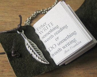 book necklace miniature jewelry with inspirational quote by benjamin franklin gift for writer leather mini journal hand stitched