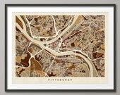 Pittsburgh Map, Pittsburgh Pennsylvania City Street Map, Art Print (1342)