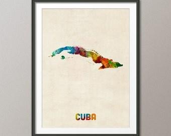 Cuba Watercolor Map, Art Print (1324)