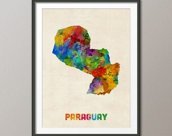 Paraguay Watercolor Map, Art Print (1329)