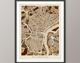 Philadelphia Map, Pennsylvania, Art Print (1339)
