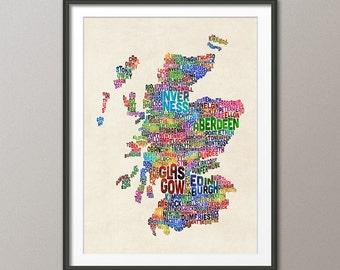 Scotland Typography Text Map, Art Print (1483)