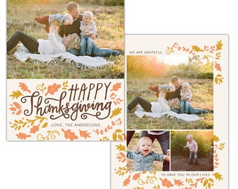 INSTANT DOWNLOAD - Thanksgiving Photo Card Photoshop template - E1147