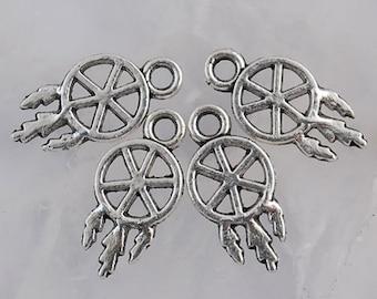 12 Dream Catcher Charms Tibetan Silver 15 x 7 mm - ts586