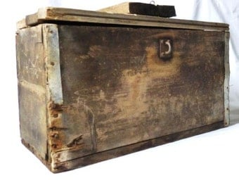 Old Handmade Rustic Wood Storage  Box,  Primitive Wood Chest,  Toolbox